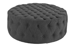 Nevaeh Upholstered Fabric Ottoman, Gray