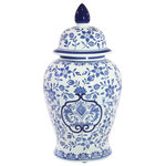 """Sagebrook Home - Sagebrook Home White/Blue Temple Jar 18"""" - Sagebrook Home White/Blue Temple Jar 18"""" is the perfect home decor accessory to accent any corner, entryway or table in your living room, bedroom, and office.This Jar will be the perfect addition to your home decor and complement any of your existing furniture. Created from the highest quality, this Jar home accent will be a great centerpiece for your home! Sagebrook Home has been formed from a love of design, a commitment to service and a dedication to quality. They create and import fashion forward items in the most popular design styles. Backed with years of experience in the textile field, they are now providing a complete home decor story. The combination of wall decor, furniture, lighting and home accessories are all coordinated with textiles to provide a complete home look. Sagebrook Home is committed to providing the best home decor and accent pieces at value prices."""