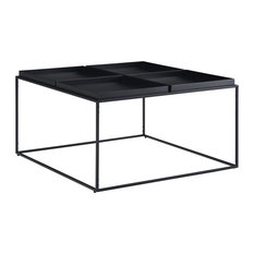 "Garner 34"" Wide Square Modern Industrial Tray Top Coffee Table, Black"