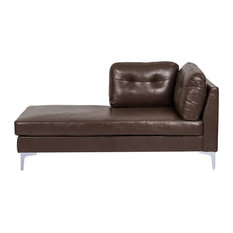 Dillonvale Contemporary Upholstered Chaise Lounge, Dark Brown and Silver