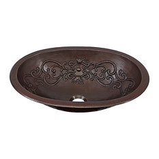 "Pauling 19"" Dual Mount Copper Bath Sink With Scroll Design"