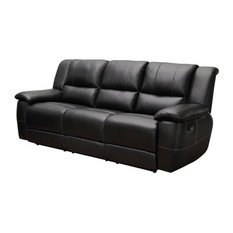 Bowery Hill Faux Leather Reclining Sofa with Pillow Arms in Black