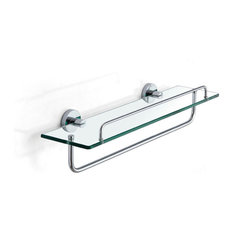 Meridian Wall Mounted Glass Shelf with Towel Bar