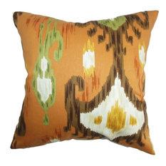 """Talisha Ikat Pillow Orange Brown 20""""x20"""""""