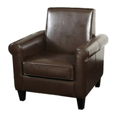GDFStudio   Larkspur Leather Club Chair, Brown   Armchairs And Accent Chairs