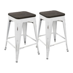 Lumisource Oregon Stackable Counter Stools Vintage White And Espresso Set Of 2