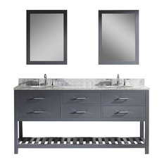 "Caroline Estate 72"" Double Bathroom Vanity Cabinet Set, Gray"
