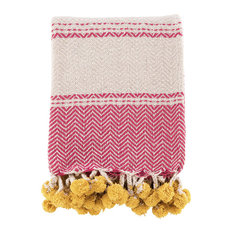 Pink Cotton Throw With Yellow Pompoms