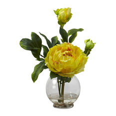 Peony With Fluted Vase Silk Flower Arrangement, Yellow