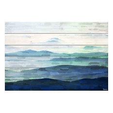 """Mountain Tops"" UV Ink Print on White Wood, 32""x24"""