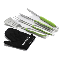 3-Piece Grilling Tool Set With Grill Glove, Green/Black