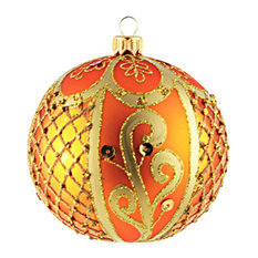 Large Ornate Peach Ball Ornament
