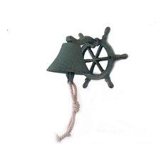 Cast Iron Hanging Ship Wheel Bell Nautical Bell Metal Wall Art, Antique Bronze