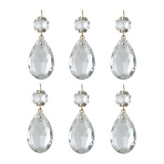"6 Prisms Clear Glass Chandelier Bobeche Pendant 1.5"""