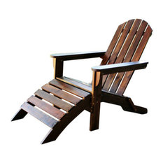 Outdoor Adirondack Chair with Footrest,Brown