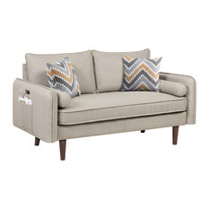 Mia Beige Linen Loveseat Couch With Usb Charging Ports & Pillows