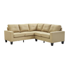 Kidd Sectional Beige Faux Leather