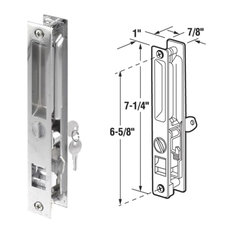 Slide-Co 141975 Keyed Sliding Glass Door Keyed Handle Set, Chrome