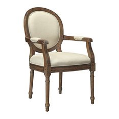 Accent Chair, Brown and Natural Beige