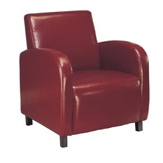 Leather-Look Fabric Accent Chair Burgundy