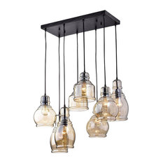 8-Light Cognac Glass Cluster Pendant in Antique Black Finish