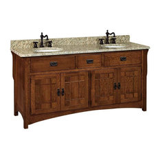 Landmark Bathroom Vanity, Natural, Hickory, Wood Doors