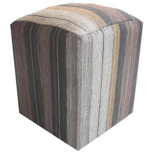 Modern Kilim Cube Stool With Grey Stripes