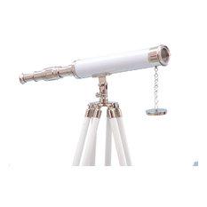 Floor Standing Chrome-White Leather Harbor Master Telescope 50''