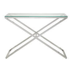 Alba Glass and Stainless Steel Console Table