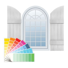 """14""""W x 77""""H Standard Size Four Board Joined w/Arch Top Shutters, Paintable"""
