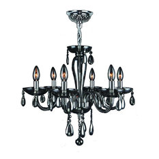 """Gatsby Collection 6 Light Chrome Finish and Smoke Blown Glass Chandelier 22"""" D x"""
