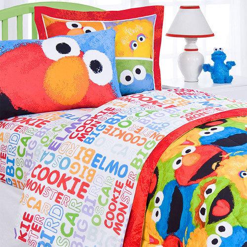 Sesame Street   Sesame Street Bed Sheet Set Elmo Chalk Bedding Accessories    Kids Bedding