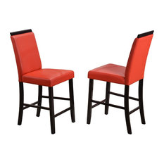 Tunica 24-inchH Bar Stools Red Faux Leather & Cappuccino Wood Legs Set Of 2