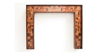 "Walnut Fireplace Mantel ""Mosaic"" design series"