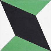 "8""x8"" Diamond Handmade Cement Tile, Black/Green, Set of 12"
