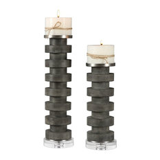 Concrete Charcoal Gray Candle Holder, Set of Pair, Pillar Round Stacked Discs