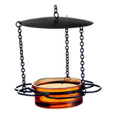 Recycled Glass and Metal Hanging Floral Bird Feeder, Orange