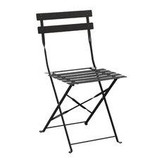 Folding Cafe Chair, Black, Set of 2