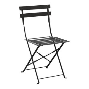 Folding Cafe Chair, Black, Set of 2