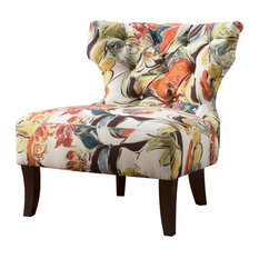 Erika Hourglass Tufted Armless Chair, Multi