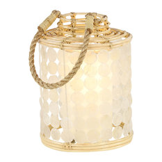 Round White Capiz Shell and Natural Rattan Decorative Lantern With Rope Handle
