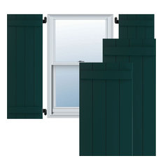 """21 1/2""""W x 45""""H True Fit PVC Four Board Joined BnB Shutters, Thermal Green"""