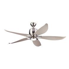 """5LLR56D-V1 Lily 56"""" Ceiling Fan, Brushed Steel, Brushed Steel"""