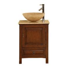 22 Inch Small Dark Brown Vessel Sink Bathroom Vanity, Travertine, Transitional