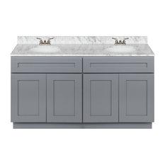 "Cherry Double Bathroom Vanity 60"", Cara White Marble Top, Faucet LB3B"