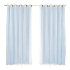 2 Piece Mix and Match Wide Tulle Sheer Lace Blackout Curtain Set, Sky Blue