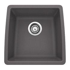 """Blanco 441475 17""""x17.5"""" Granite Single Undermount Kitchen Sink, Cinder"""