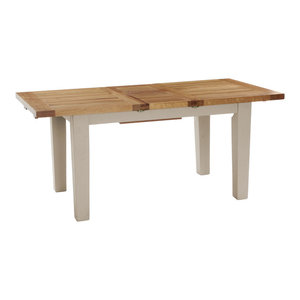 Natural Wood Extendable Dining Table, Putty, Small