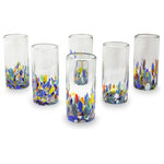 NOVICA - Confetti Festival, Set of 6 Blown Glass Highball Glasses, Mexico - Highball glasses feature colorful accents in bright confetti colors. The set of six is handcrafted by Javier and Efren, using glass-blowing techniques perfected over more than thirty years.