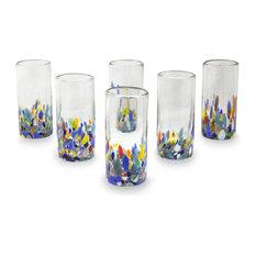 Confetti Festival, Set of 6 Blown Glass Highball Glasses, Mexico